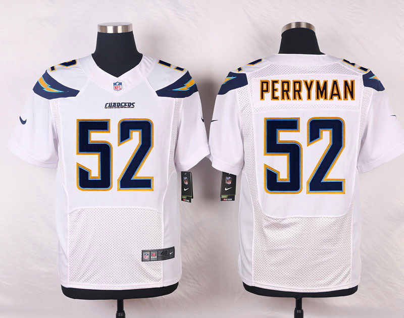 NFL Customize Los Angeles Chargers 52 Perryman White Men Nike Elite Jerseys