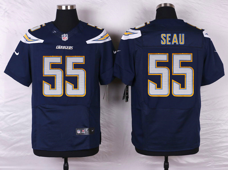 NFL Customize San Diego Chargers 55 Seau Blue Men Nike Elite Jerseys