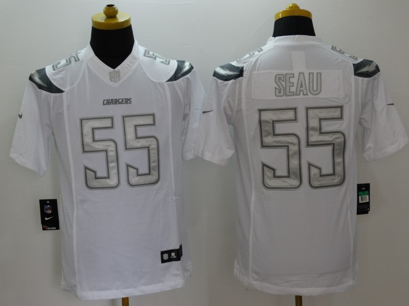 San Diego Chargers 55 Seau White Nike Platinum Jerseys