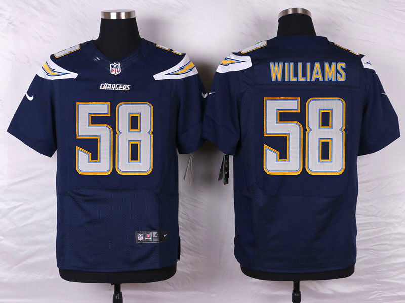 NFL Customize San Diego Chargers 58 Williams Blue Men Nike Elite Jerseys