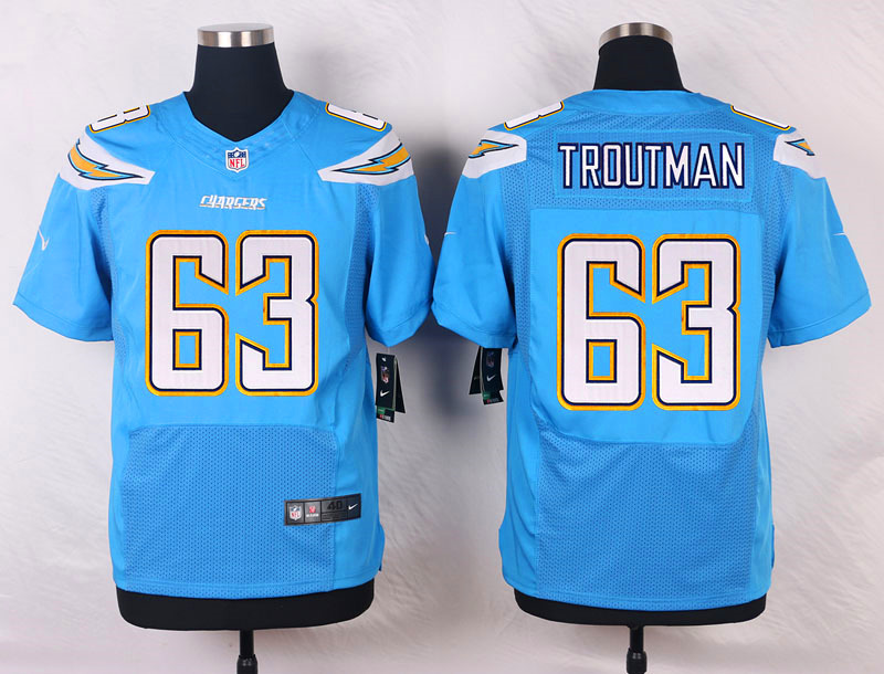 NFL Customize San Diego Chargers 63 Troutman Light Blue Men Nike Elite Jerseys
