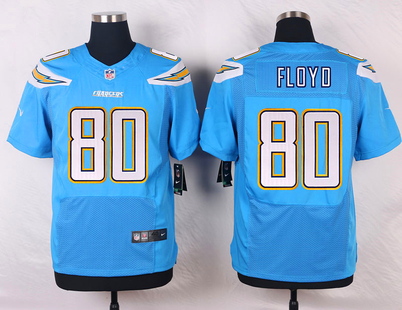 NFL Customize San Diego Chargers 80 Floyd Light Blue Men Nike Elite Jerseys