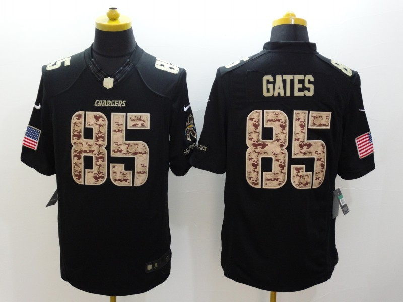 Los Angeles Chargers 85 Gates Black Nike Salute TO Service Jerseys.