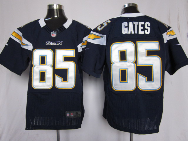 Los Angeles Chargers 85 Gates Blue Nike Elite Jersey