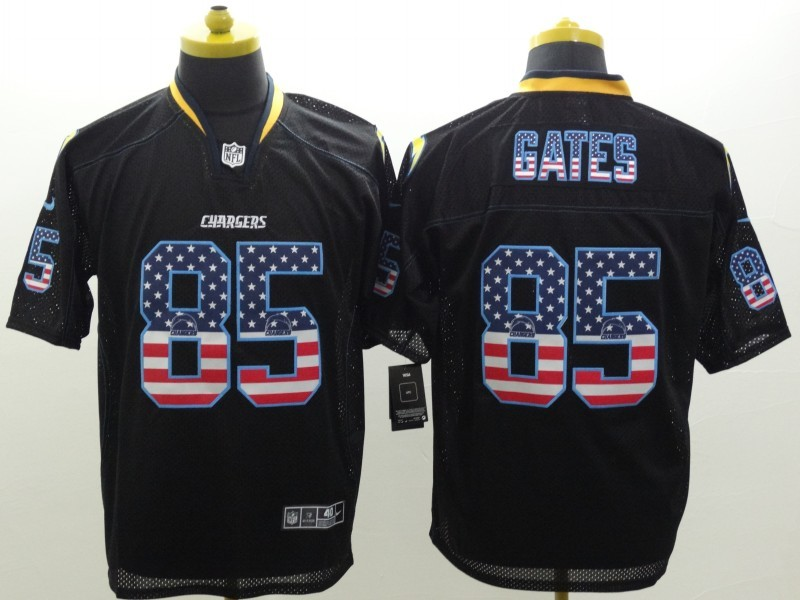 Los Angeles Chargers 85 Gates USA Flag Fashion Black Nike Elite Jerseys.