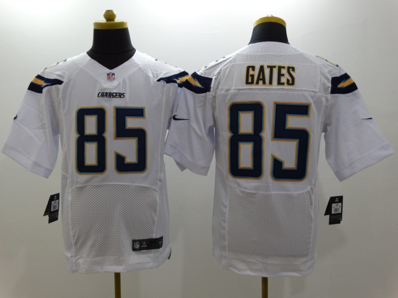 Los Angeles Chargers 85 Gates White Nike Elite Jerseys