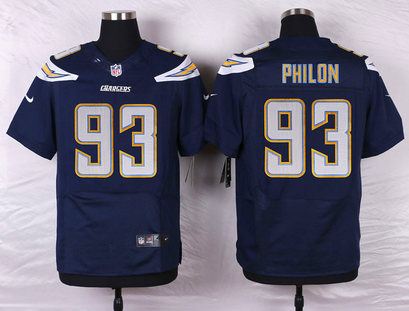 NFL Customize San Diego Chargers 93 Philon Blue Men Nike Elite Jerseys