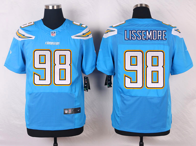 NFL Customize San Diego Chargers 98 Lissemore Light Blue Men Nike Elite Jerseys