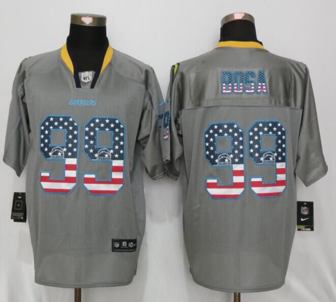 Los Angeles Chargers 99 Bosa USA Flag Fashion Gray New Nike Elite Jerseys