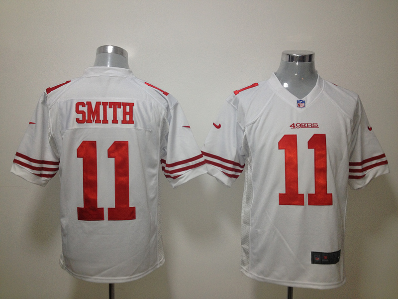 San Francisco 49ers 11 Smith White Nike Game Jersey