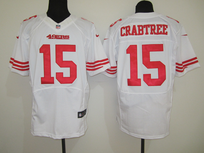 San Francisco 49ers 15 Crabtree White Nike Elite Jersey