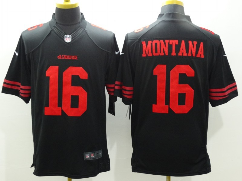 San Francisco 49ers 16 Montana Black Nike Limited Jerseys.