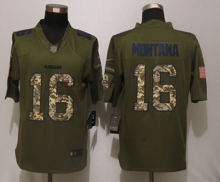 San Francisco 49ers 16 Montana Green Salute To Service Nike Limited Jersey