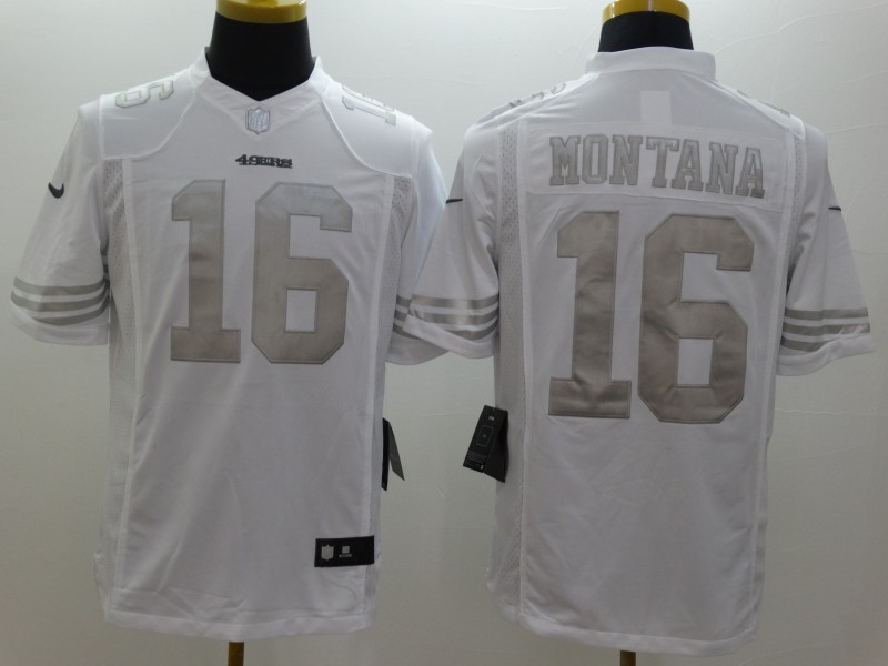 San Francisco 49ers 16 Montana Platinum White Nike Limited Jerseys