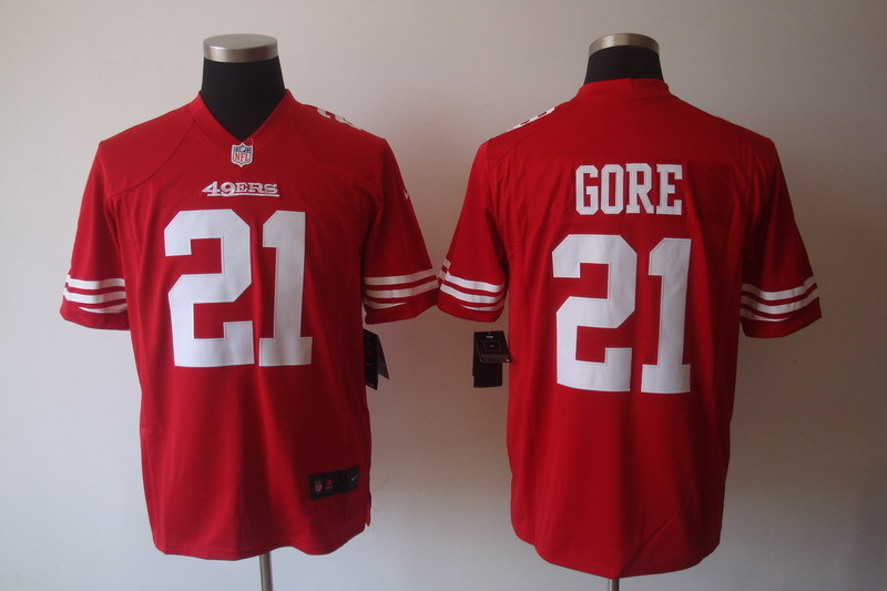 San Francisco 49ers 21 Gore Red Nike Game Jerseys