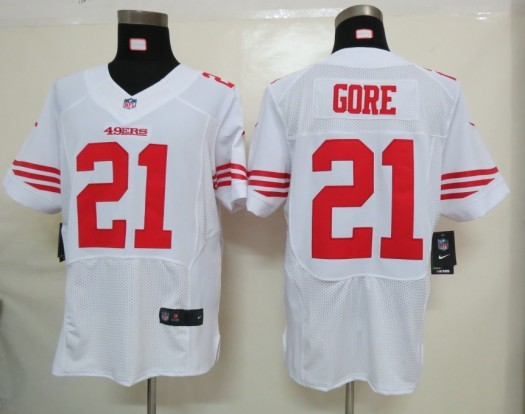 San Francisco 49ers 21 Gore White Nike Elite Jersey