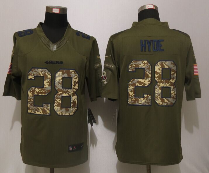 San Francisco 49ers 28 Hyde Green Salute To Service Nike Limited Jersey