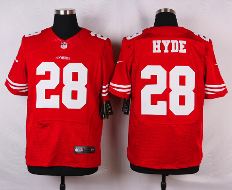NFL Customize San Francisco 49ers 28 Hyde Red Men Nike Elite Jerseys