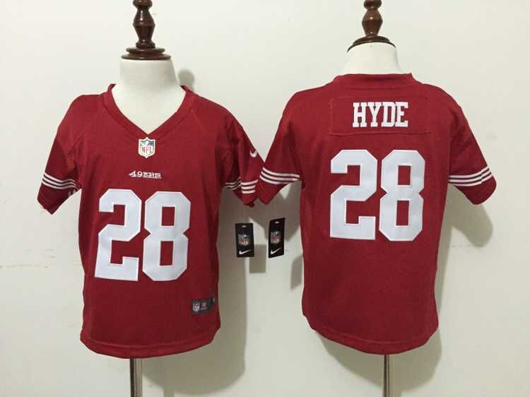 San Francisco 49ers 28 Hyde Red Nike baby Jersey