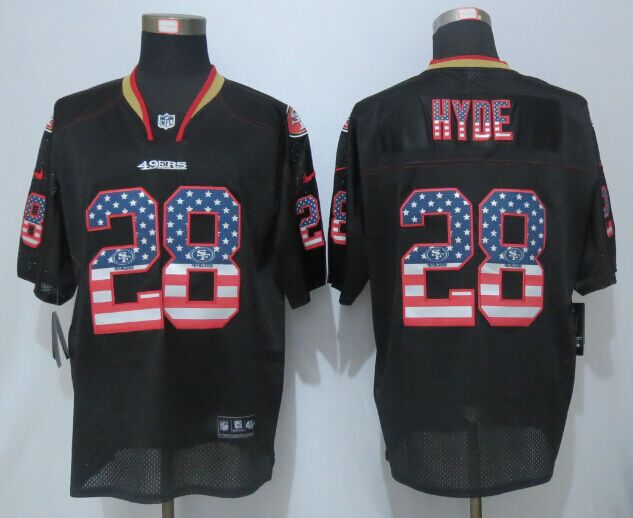 San Francisco 49ers 28 Hyde USA Flag Fashion Black New Nike Elite Jerseys