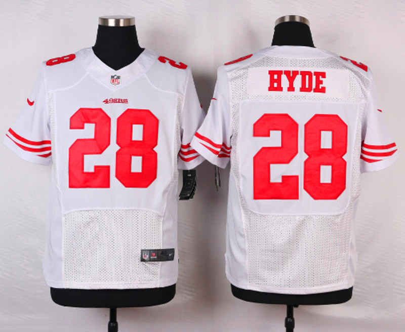 NFL Customize San Francisco 49ers 28 Hyde White Men Nike Elite Jerseys