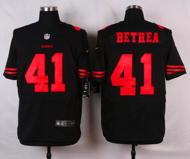 NFL Customize San Francisco 49ers 41 Bethea Black Men Nike Elite Jerseys