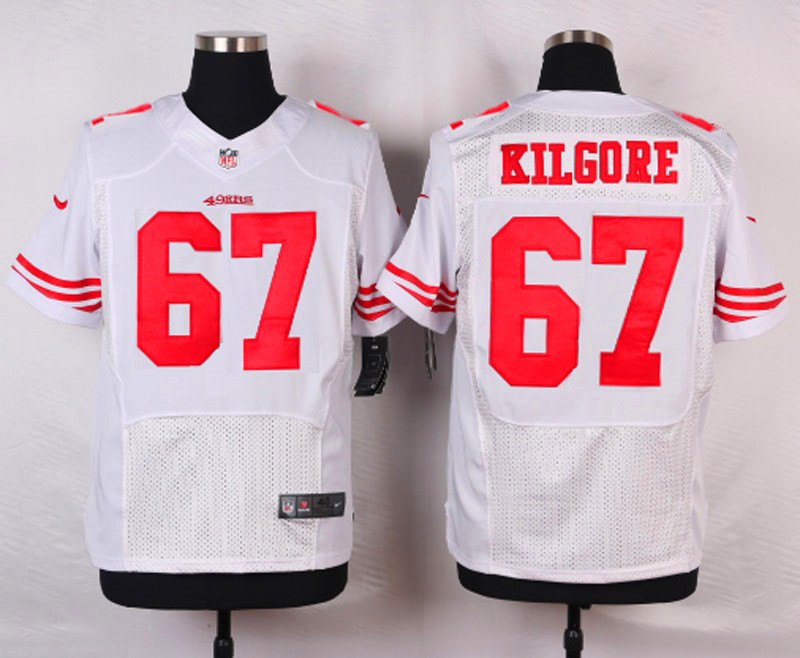 NFL Customize San Francisco 49ers 67 Kilgore White Men Nike Elite Jerseys