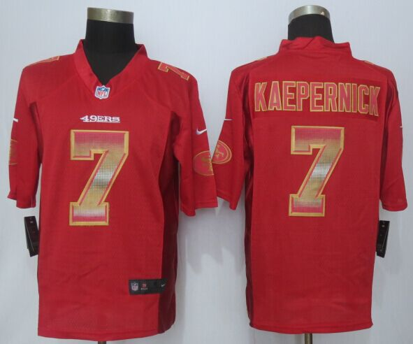 San Francisco 49ers 7 Kaepernick Pro Line Red Fashion Strobe 2015 New Nike Jersey