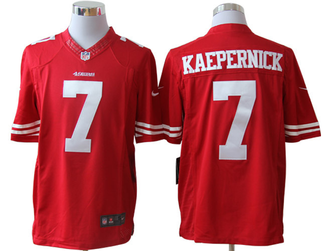 San Francisco 49ers 7 Kaepernick Red Nike Limited Jerseys