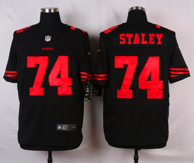 NFL Customize San Francisco 49ers 74 Staley Black Men Nike Elite Jerseys