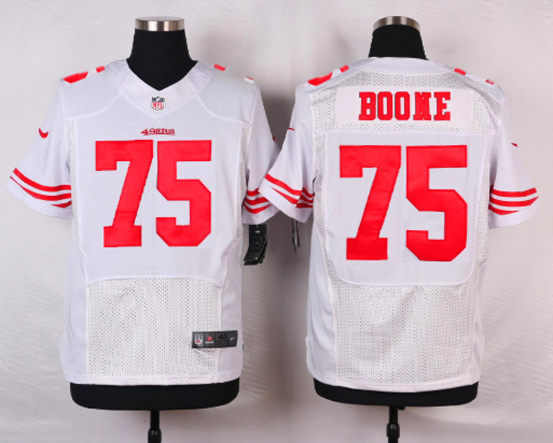 NFL Customize San Francisco 49ers 75 Boone White Men Nike Elite Jerseys