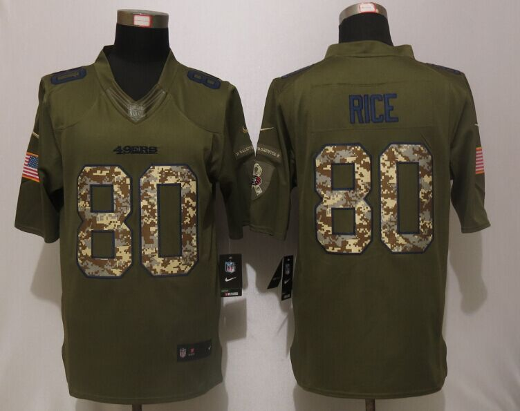 San Francisco 49ers 80 Rice Green Salute To Service Nike Limited Jersey.