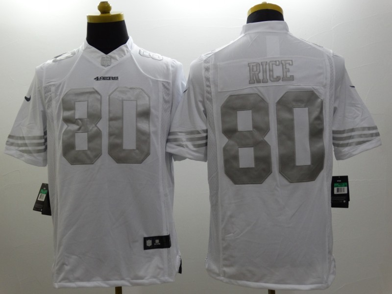 San Francisco 49ers 80 Rice Platinum White Nike Limited Jerseys