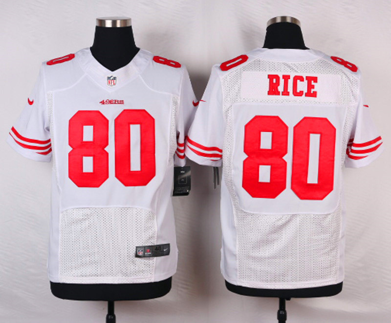 NFL Customize San Francisco 49ers 80 Rice White Men Nike Elite Jerseys