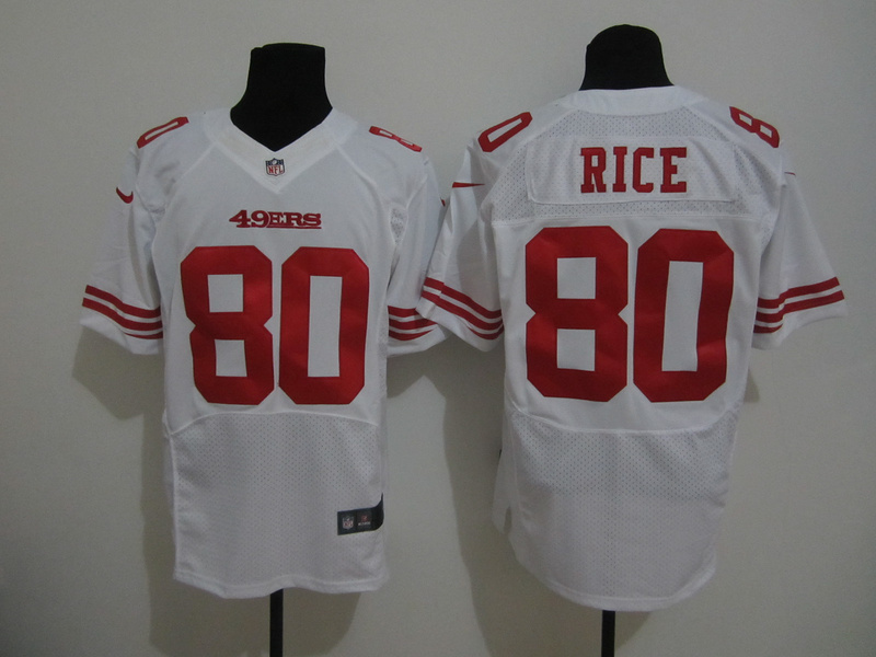 San Francisco 49ers 80 Rice White Nike Elite Jersey