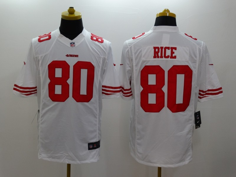 San Francisco 49ers 80 Rice White Nike Limited Jerseys