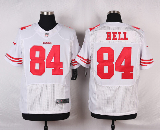 NFL Customize San Francisco 49ers 84 Bell White Men Nike Elite Jerseys
