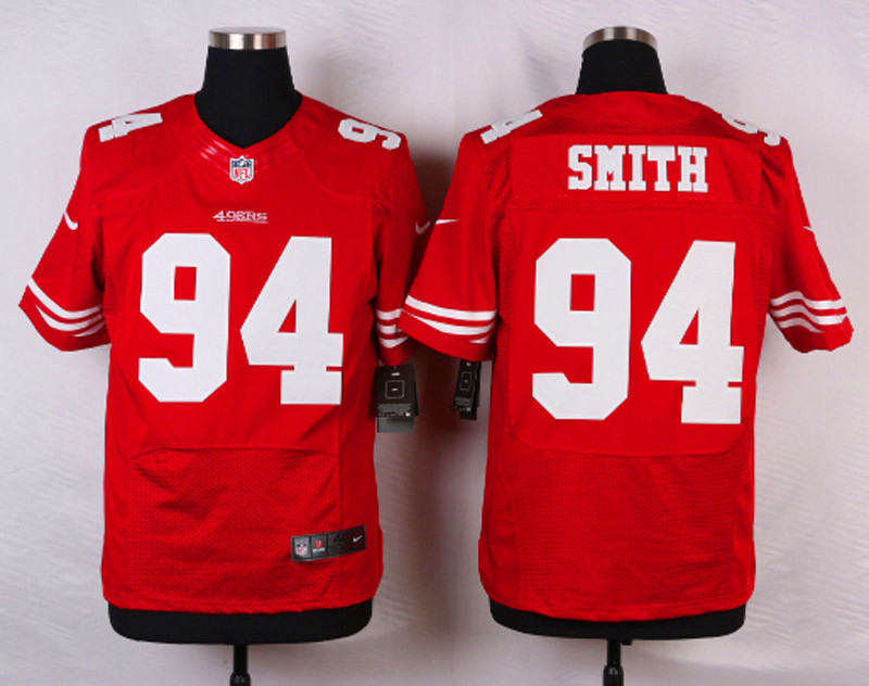 NFL Customize San Francisco 49ers 94 Smith Red Men Nike Elite Jerseys