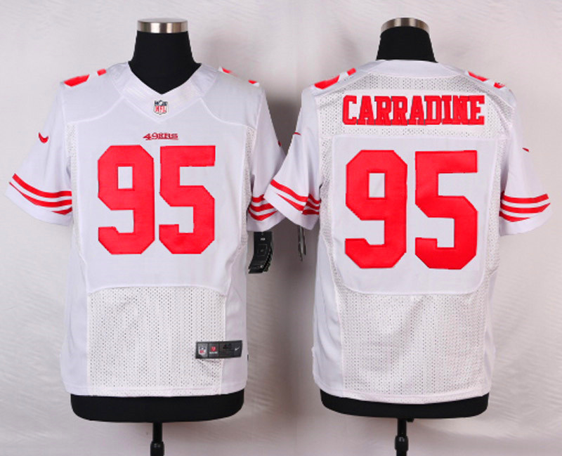 NFL Customize San Francisco 49ers 95 Carradine White Men Nike Elite Jerseys