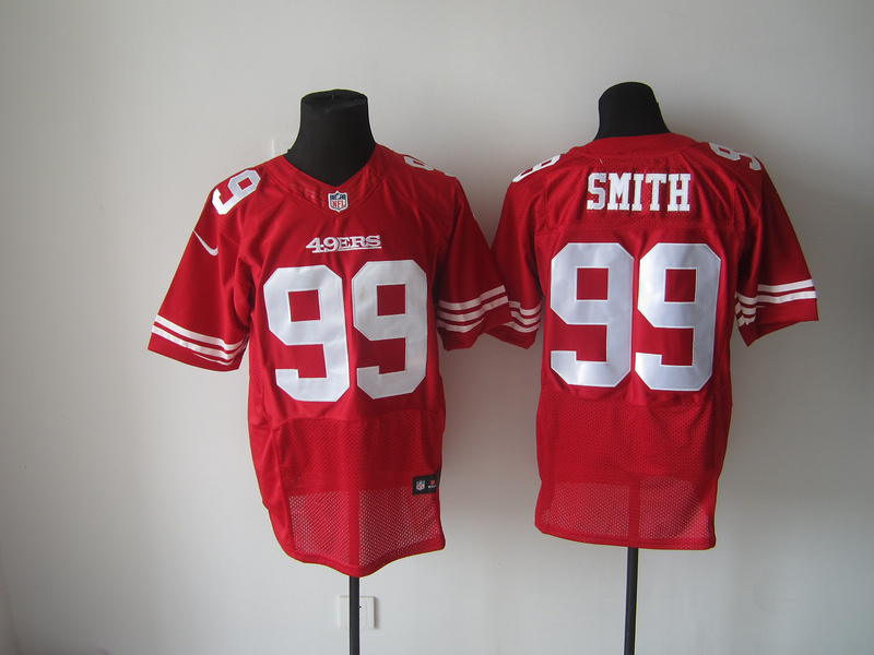 San Francisco 49ers 99 Smith Red Nike Elite Jersey
