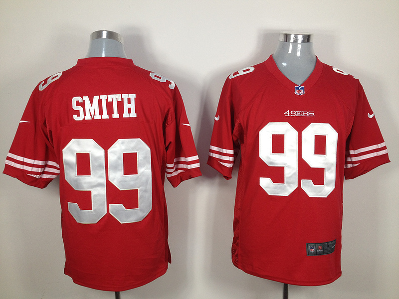 San Francisco 49ers 99 Smith Red Nike Game Jersey