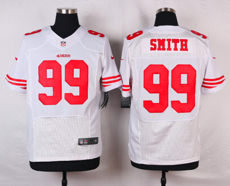 NFL Customize San Francisco 49ers 99 Smith White Men Nike Elite Jerseys
