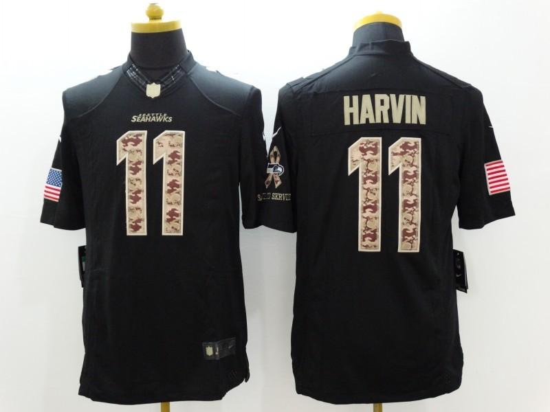 Seattle Seahawks 11 Harvin Black Nike Salute TO Service Jerseys