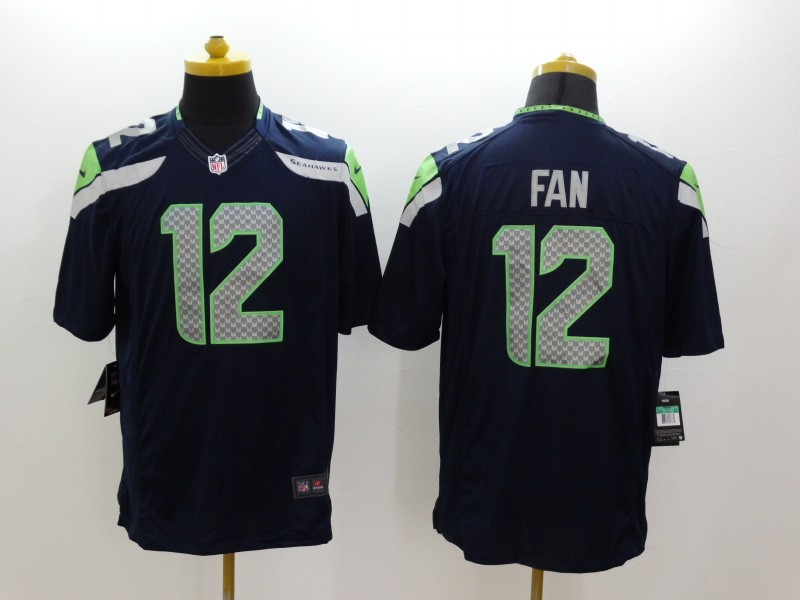 Seattle Seahawks 12 Fan Blue Nike Limited Jerseys