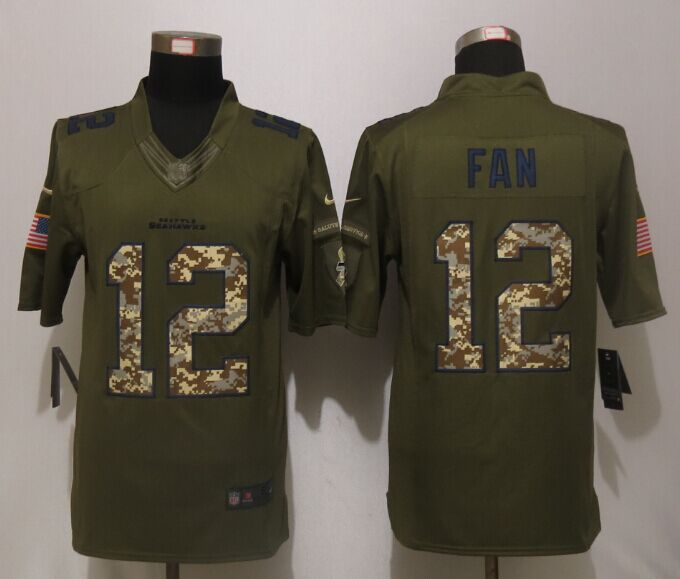 Seattle Seahawks 12 Fan Green Salute To Service New Nike Limited Jersey