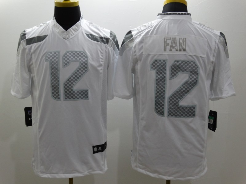 Seattle Seahawks 12 Fan Platinum White Nike Limited Jerseys