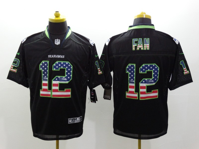 Seattle Seahawks 12 Fan USA Flag Fashion Black Nike Elite Jerseys