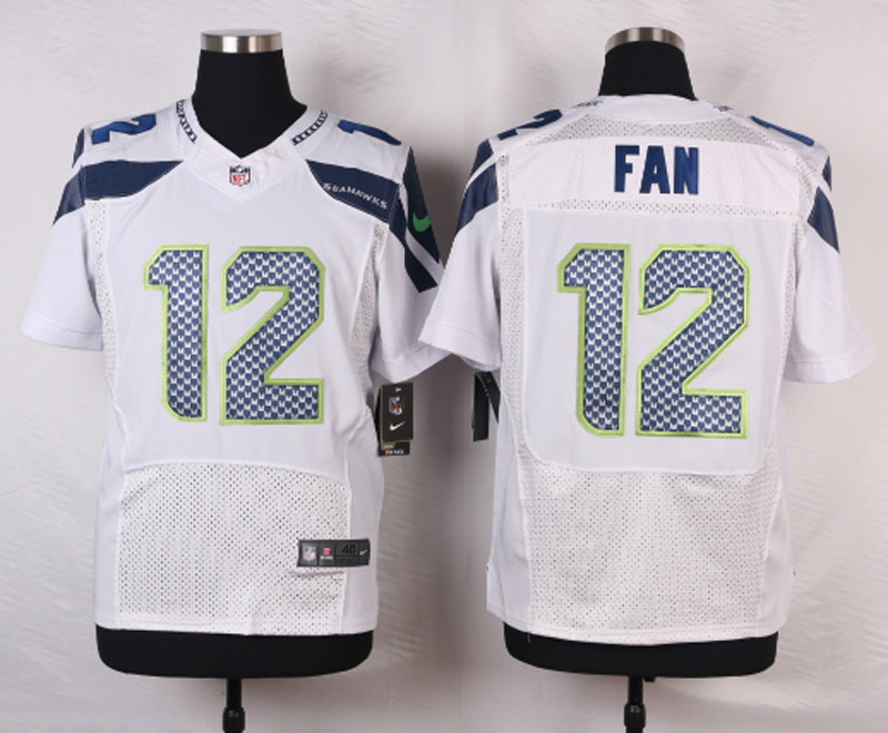 NFL Customize Seattle Seahawks 12 Fan White Men Nike Elite Jerseys