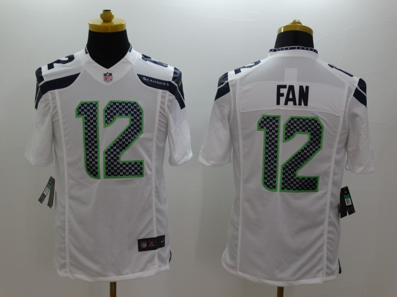 Seattle Seahawks 12 Fan White Nike Limited Jerseys