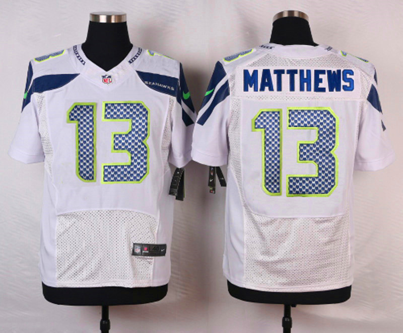 NFL Customize Seattle Seahawks 13 Matthews White Men Nike Elite Jerseys